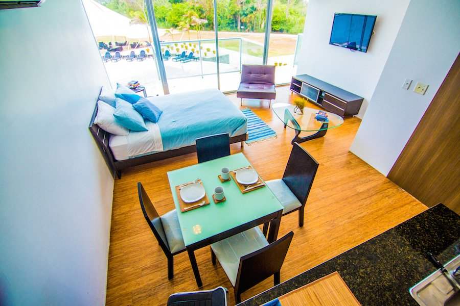 living area with view